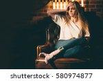 lonely  offended  upset girl... | Shutterstock . vector #580974877