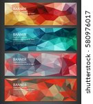 polygonal banners with abstract ... | Shutterstock .eps vector #580976017