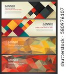 abstract banners set. polygonal ... | Shutterstock .eps vector #580976107