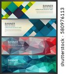 abstract banners set. polygonal ... | Shutterstock .eps vector #580976113