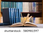 collection of old books in the... | Shutterstock . vector #580981597