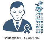 gentleman with mourning ribbon... | Shutterstock .eps vector #581007703