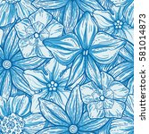 hand drawn pattern with... | Shutterstock .eps vector #581014873