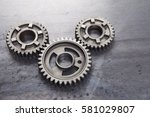 a group of solid metal gears... | Shutterstock . vector #581029807