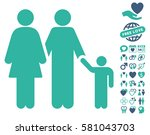 family pictograph with bonus... | Shutterstock .eps vector #581043703