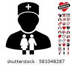 family doctor pictograph with... | Shutterstock .eps vector #581048287