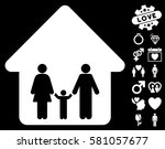 family home icon with bonus... | Shutterstock .eps vector #581057677