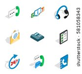 call center icons set.... | Shutterstock . vector #581058343