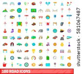 100 road icons set in cartoon... | Shutterstock . vector #581067487