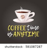 cartoon style cup and positive... | Shutterstock .eps vector #581087287