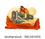 space traveler explores planet | Shutterstock .eps vector #581101453