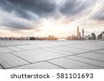 empty floor with city skyline... | Shutterstock . vector #581101693
