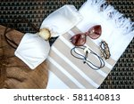 the concept of flatlay summer... | Shutterstock . vector #581140813