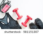 Flat Lay Of Red Dumbbell  Spor...