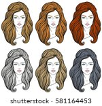 beautiful girl faces with long... | Shutterstock .eps vector #581164453
