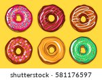decorative hand drawn donuts... | Shutterstock .eps vector #581176597