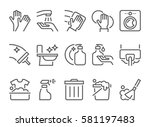 simple set of cleaning related... | Shutterstock .eps vector #581197483