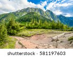 panorama of mountains  spring... | Shutterstock . vector #581197603