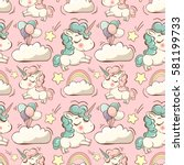 vector pattern with cute... | Shutterstock .eps vector #581199733