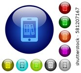 mobile office icons on round... | Shutterstock .eps vector #581207167