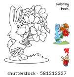 cute little rabbit with a... | Shutterstock .eps vector #581212327
