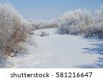 Frozen River. Winter Landscape.