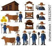farmer man and milch cow.vector | Shutterstock .eps vector #581232907