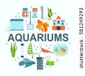 flat aquarium set. aquarium... | Shutterstock .eps vector #581249293