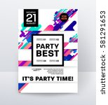 invitation disco party poster... | Shutterstock .eps vector #581291653