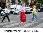 paris july 8  2015. top model... | Shutterstock . vector #581319433