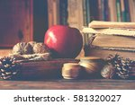 old vintage books on wooden... | Shutterstock . vector #581320027