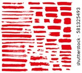 red vector brush strokes of... | Shutterstock .eps vector #581325493