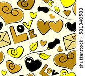 valentines day seamless pattern ... | Shutterstock . vector #581340583