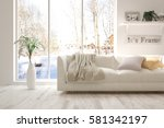 white room with sofa and winter ... | Shutterstock . vector #581342197