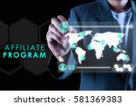 Small photo of a business man pointing at a imaginary screen on black background with text AFFILIATE PROGRAM