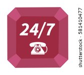 24 7 support phone icon.... | Shutterstock . vector #581410477