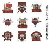 viking set of vector emblems ... | Shutterstock .eps vector #581444287