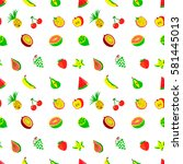 tropical exotic fruits seamless ... | Shutterstock .eps vector #581445013