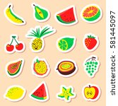 tropical exotic fruits stickers ... | Shutterstock .eps vector #581445097