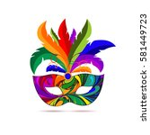 carnival mask with colorful... | Shutterstock .eps vector #581449723