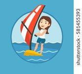 caucasian woman windsurfing.... | Shutterstock .eps vector #581455393