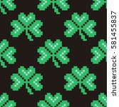 seamless pattern with pixel... | Shutterstock .eps vector #581455837