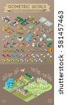 isometric world on dark... | Shutterstock .eps vector #581457463