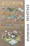 isometric world on dark... | Shutterstock .eps vector #581457613