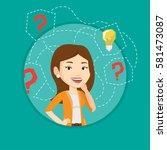 caucasian business woman having ... | Shutterstock .eps vector #581473087