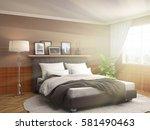 bedroom interior. 3d... | Shutterstock . vector #581490463