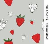 strawberry seamless pattern.... | Shutterstock .eps vector #581491483