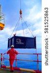 crane rigger operating basket... | Shutterstock . vector #581525863