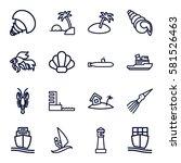 ocean icons set. set of 16... | Shutterstock .eps vector #581526463