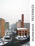 simple town street view in... | Shutterstock . vector #581540623